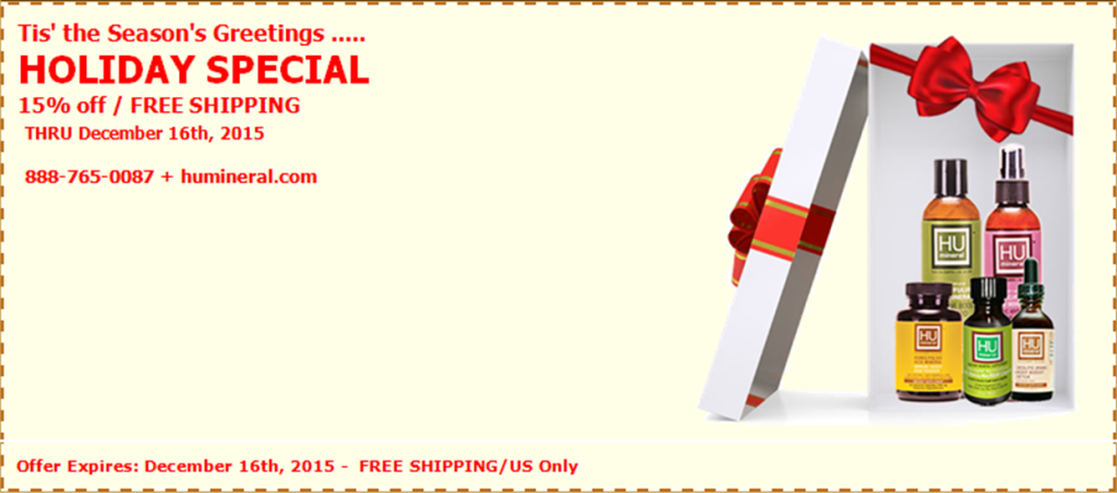 HUMineral Holiday Special 15 percent off and FREE shipping until Dec 16th 2015